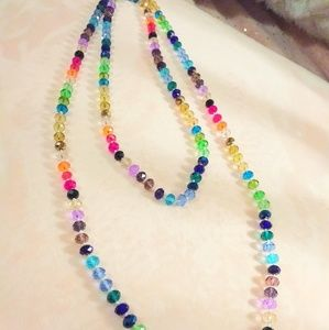 Multicolored crystal bead necklace